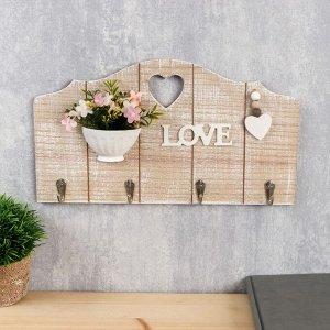 """Крючки декоративные дерево """"Вазон с цветами с сердечком"""" 19,5х35х3,5 см"""