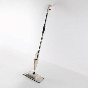 Швабра с распылителем и щётка-пылесос 2 в 1, ручка 128 см, насадка микрофиба 41?14 см, цвет бежевый
