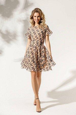 Платье Платье DI-LiA FASHION 0329 мультидизайн  Состав ткани: ПЭ-100%;  Рост: 170 см.  Платье женское полуприлегающего силуэта, укороченное, отрезное по линии талии, со вставкой эластичной тесьмы по