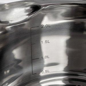 Кастрюля Magistro Tefida, 2,5 л, крышка-дуршлаг, носик для слива, капсульное дно, силиконовые ручки