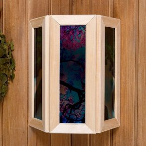 """Абажур деревянный """"Рисунок 1"""" со вставками из стекла с УФ печатью, малый, 33х29х12см"""