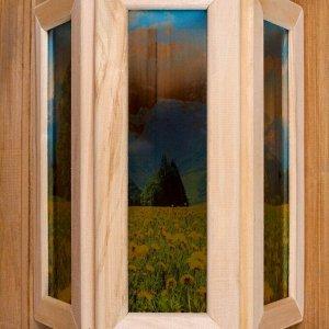 """Абажур деревянный """"Одуванчики"""" со вставками из стекла с УФ печатью, 33х29х12см"""