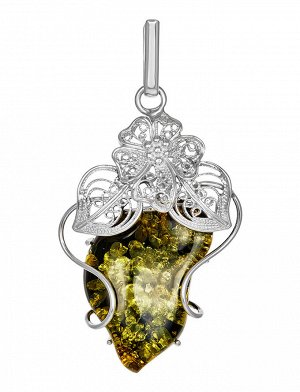 Крупная нарядная подвеска из натурального сверкающего янтаря зеленого цвета в серебре «Филигрань», 904507671