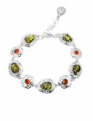 Изысканный браслет из серебра со вставками из натурального янтаря «Луксор», 607708139
