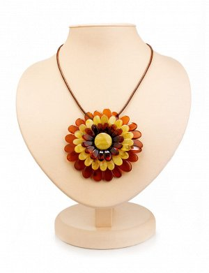 Ожерелье с подвеской-брошью на шнурке «Хризантема разноцветная», 007901002