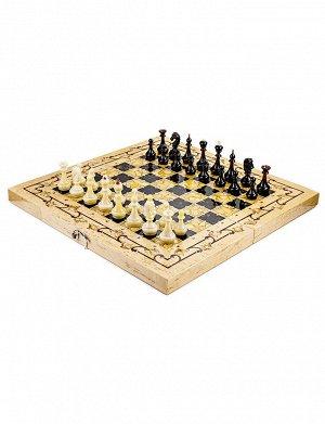 Складная шахматная доска из дерева с янтарной инкрустацией и набор фигурок из янтаря, 905511076