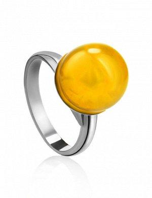 Стильное кольцо «Париж» из серебра и натурального балтийского янтаря, 006301216