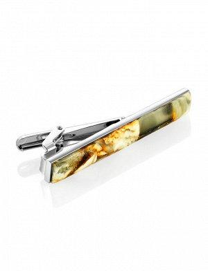 Зажим для галстука с натуральным янтарём