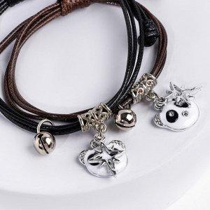 """Браслеты """"Неразлучники"""" панды, цвет чёрно-коричневый, L=12,5 см"""