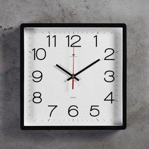 """Часы настенные квадратные """"Классика"""", 30х30 см черные"""