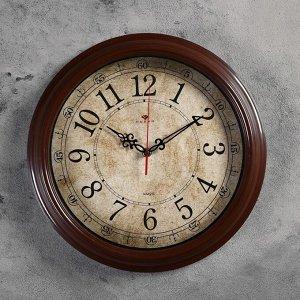 """Часы настенные круглые """"Классика ретро"""". 35 см. обод коричневый"""