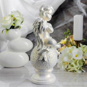 """Статуэтка """"Ангел с арфой"""" перламутровая, 32 см"""