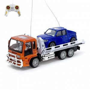 Набор машин радиоуправляемых «Грузовик эвакуатор + пикап», работают от аккумулятора, цвета МИКС