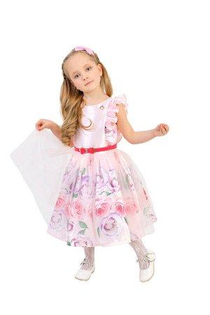 Платье Количество в упаковке: 1; Артикул: СС-П-1806; Цвет: Розовый Скачать таблицу размеров                                                 Нарядное платье из шелковой тафты с цветочным купоном, на п