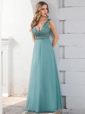 Нежное голубое вечернее платье с воздушной юбкой
