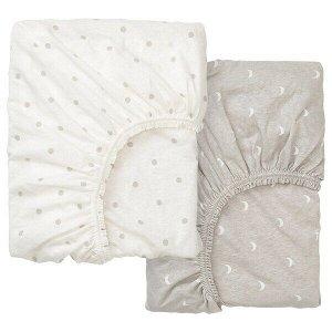 ЛЕНАСТ Простыня натяжн для кроватки, точечный, луна, 60x120 см