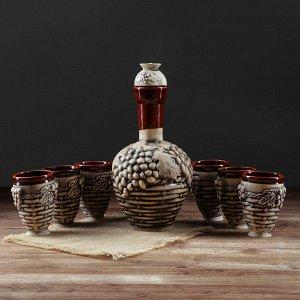 "Набор для вина ""Плетенка"", 7 предметов, штоф 1,35 л"