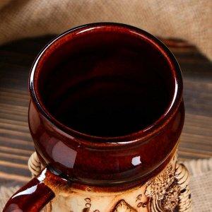 """Пивная кружка """"Замки"""", лепка, декор, глазурь, 0.7 л"""