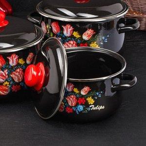 Набор кастрюль «Букет тюльпанов», 3 предмета: 2 л, 3 л, 5,5 л, цвет белоснежный