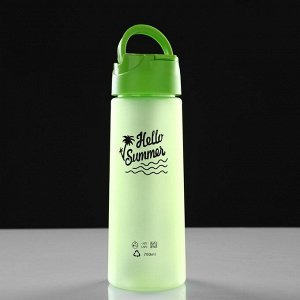 Бутылка для воды 700 мл Hello Summer, матовая, крышка с трубкой, микс, 7.5х22 см