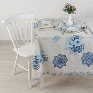 Клеёнка ажурная Lace 137?180 см, рулон 10 скатертей, цвет бело-голубой
