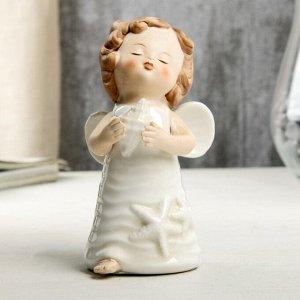 """Сувенир керамика """"Ангел-малыш в платье со звездами, с ракушкой в руке"""" 10,5х5,9х6,3 см"""