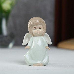 "Сувенир керамика ""Ангел-пухлячок в зелёном платье"" 11х5х6,5 см"