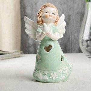 """Сувенир керамика световой """"Ангел-девочка в мятном платье, с голубем в руке"""" 12,1х6х7 см"""