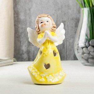 """Сувенир керамика световой """"Ангел-девочка в жёлтом платье, с крестом в руках"""" 12,1х6х7 см"""