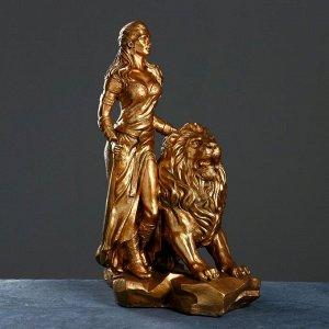 """Фигура """"Девушка со львом"""" бронза 38х60х76см"""