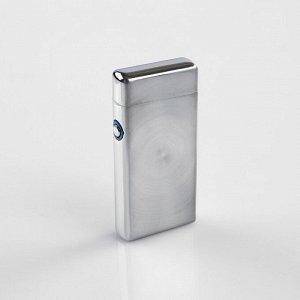 Зажигалка электронная в подароч.коробке, дуговая, прямоугольная, серебристая, USB 10х3х10 см
