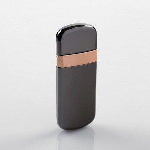Зажигалка электронная в подарочной коробке, USB, спираль, черный металлик, 3х6.5 см