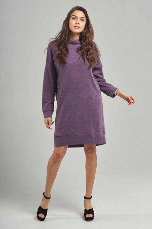 Платье Платье-свитер О-образного силуэта из уютного теплого трикотажа .Спущенная линия плеча с втачным рукавом на манжете,мягкая стойка по горловине.Низ с небольшим перепадом длины.Длина выше колена п
