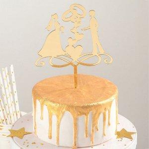 Топпер на торт «Обручальные кольца», 13?18 см, цвет золото 2815545