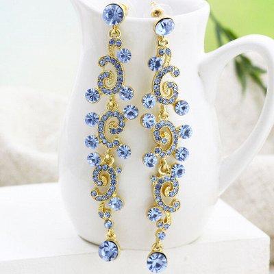 44 - Бижутерия Ve*Vett стильная и яркая.😍 — Длинные Серьги с чешскими кристаллами — Серьги