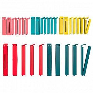 БЕВАРА Зажим для пакетов,30 штук, разные цвета разные цвета, разные размеры различные размеры
