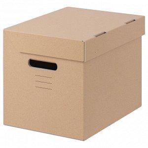 ПАППИС Коробка с крышкой, коричневый, 25x34x26 см