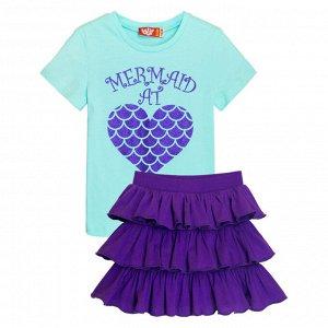 4155/мятный/фиолетовый Комплект для девочки