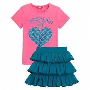 4155/розовый/т.бирюзовый Комплект для девочки