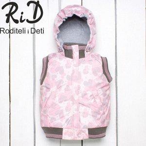 55-001/розовый сердечки Жилет для девочки