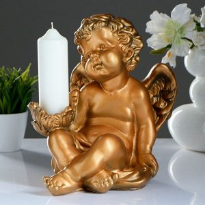 "Подсвечник ""Ангел сидя в руке"" 26х21х30см бронза"