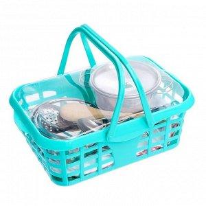 Набор металлической посудки «Супер Шеф», с фартуком и колпаком, в корзинке, МИКС