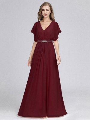 Элегантное бордовое длинное платье с коротким рукавом