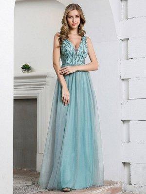 Романтичное длинное платье бирюзового цвета с V-образным вырезом