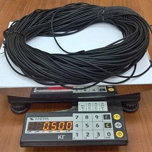 Шнур каучуковый полый матовый средней твёрдости, чёрный, диам. 3мм, отверстие 1,5мм.