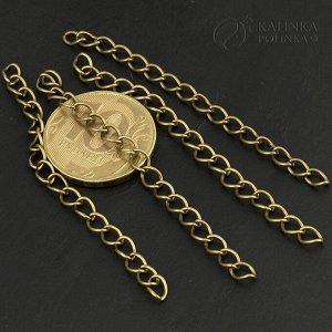 Цепочка удлинительная для бижутерии, ленточное плетение, цвет бронза, р-р 5.5x4x0.8мм, отрезок 4-7см