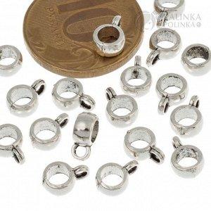 Бейлы из ювелирного сплава, маленькие, цвет античное серебро, р-р 7x10x7мм, отв-е 5мм.