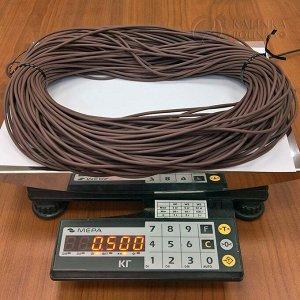 Шнур каучуковый полый матовый средней твёрдости, коричневый, диам. 3мм, отверстие 1,5мм.