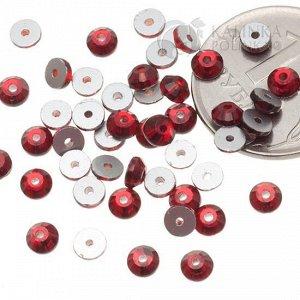 Стразы пришивные SS16 (3.8мм) хрустальные рубиновые, отв. 0,5мм.