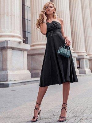 Вечернее черное короткое платье без бретелек с завышенной талией в стиле ампир